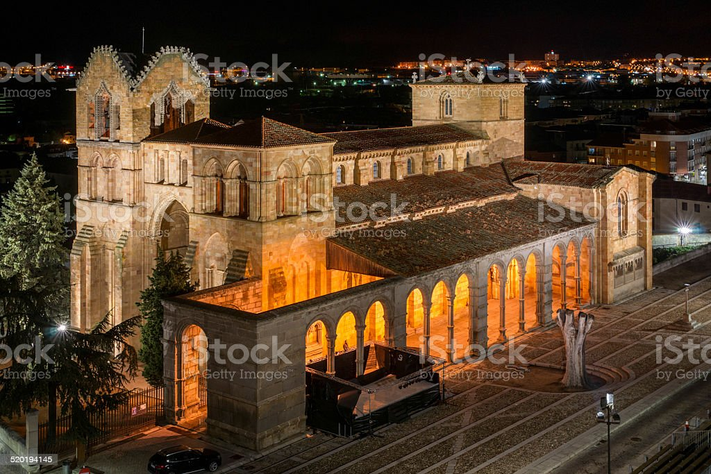 Basilica of San Vicente Night stock photo