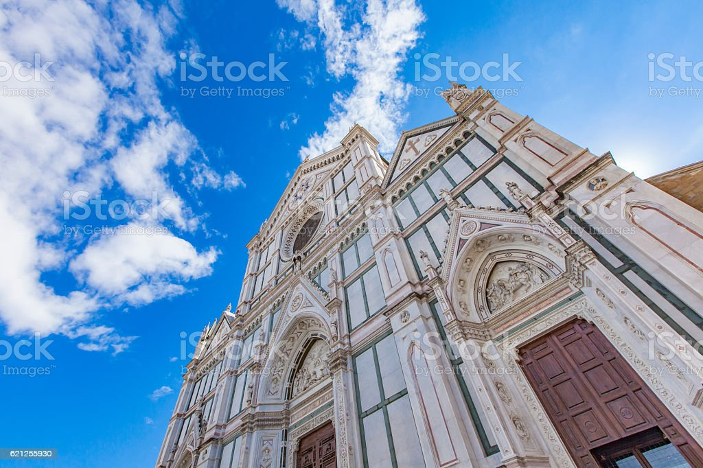 Basilica of Santa Croce in Florence stock photo