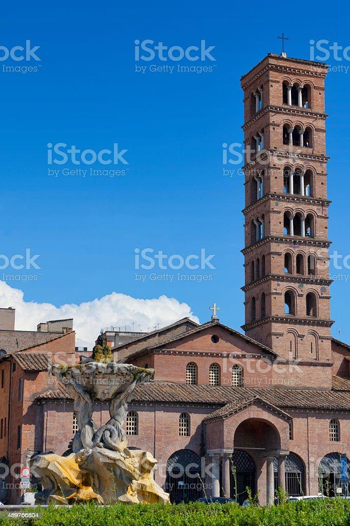 Basilica of Santa Maria in Cosmedin in Rome, Italy stock photo