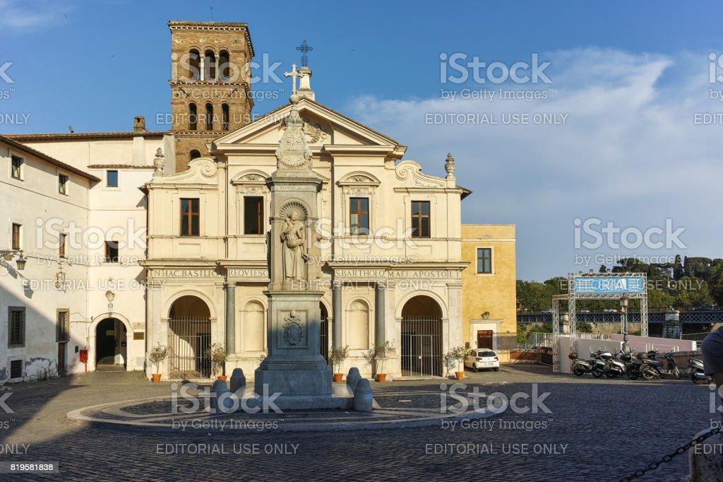 Basilica of St. Bartholomew on the Island in city of Rome, Italy stock photo