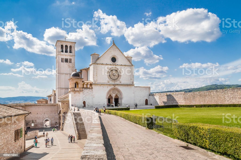 Basilica of St. Francis of Assisi on a sunny day in Assisi, Umbria, Italy stock photo
