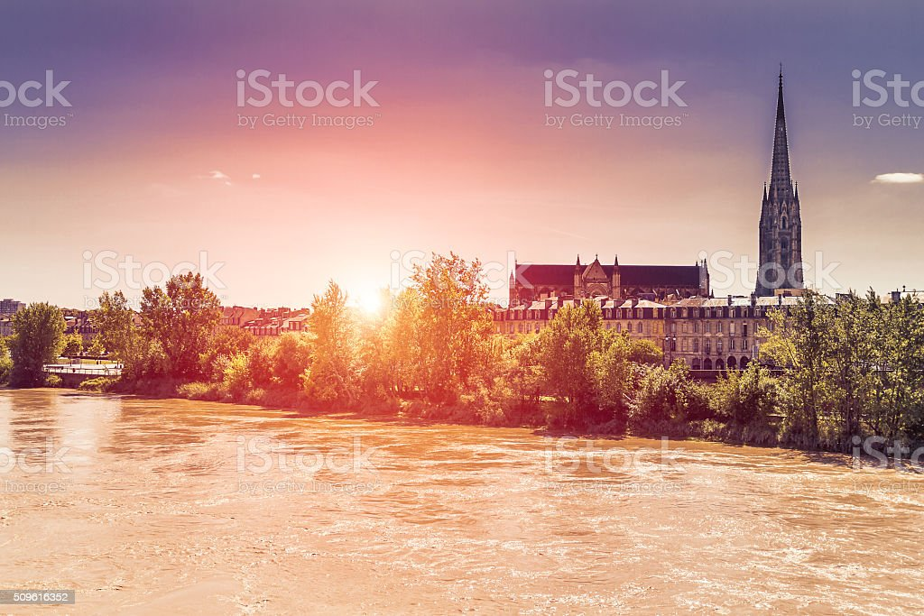 Basilica of St. Michael from Garonne river - Bordeaux stock photo