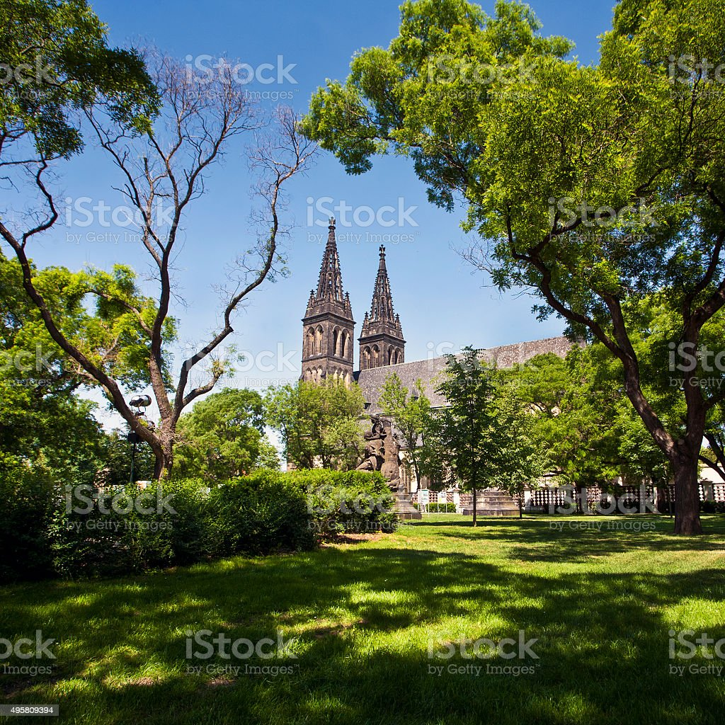 Basilica of St. Peter and St. Paul in Vysehrad stock photo