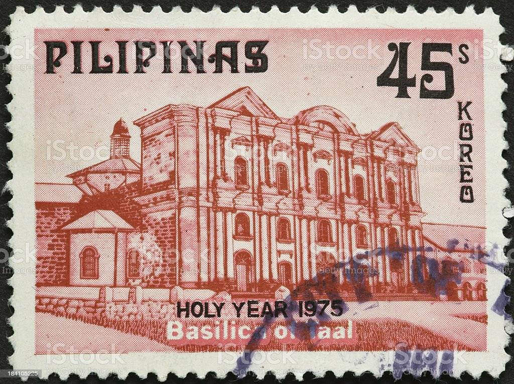 Basilica of Taal, Philippines on a postage stamp stock photo
