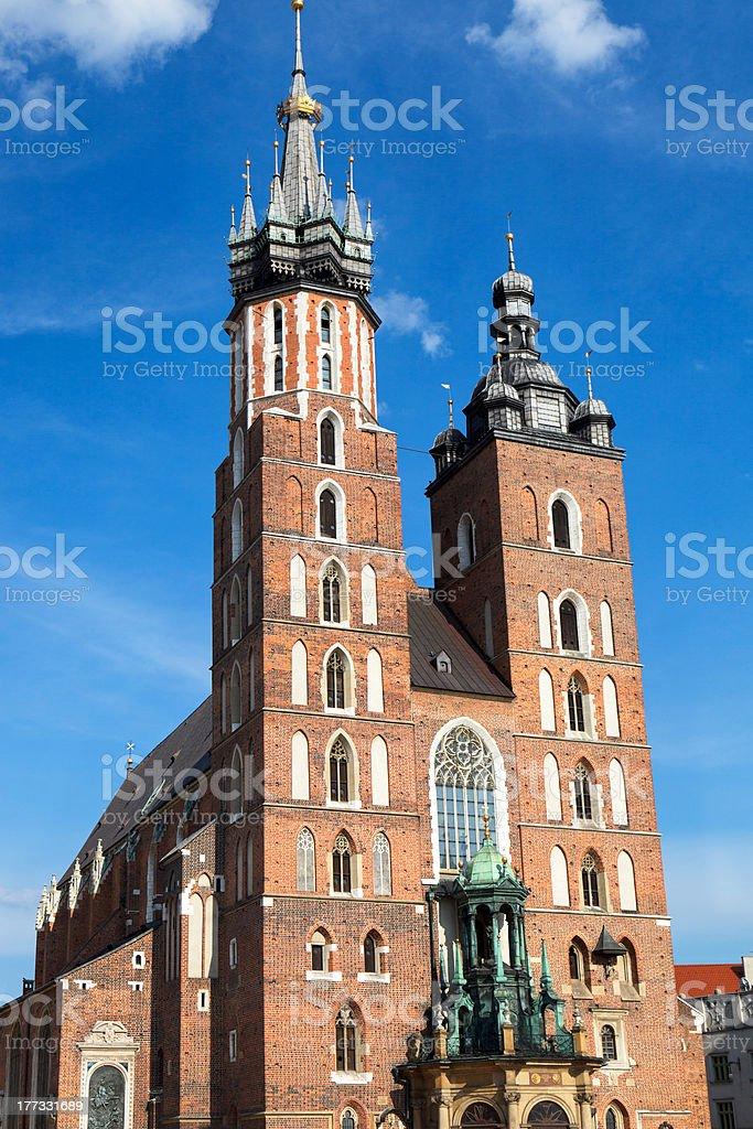 Basilica of the Virgin Mary in Krakow royalty-free stock photo