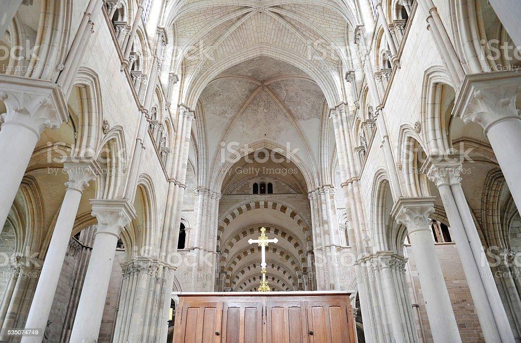 Basilica of Vezelay - inside stock photo
