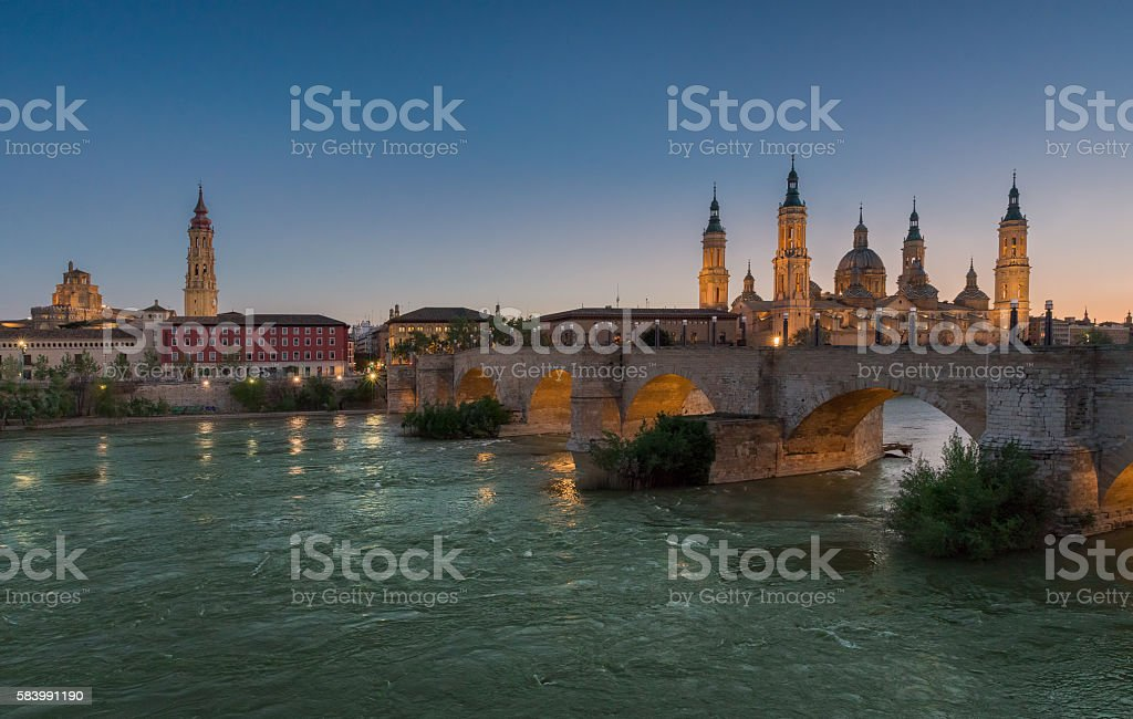Basilica Our Lady Pillar In Zaragoza In Spain In Sunset stock photo