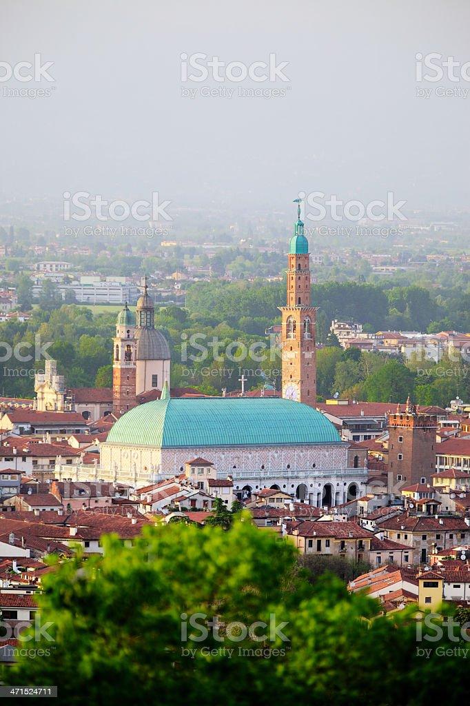 Basilica Palladiana ('Palazzo della Ragione') seen from Monte Berico. Vicenza-Italy. stock photo