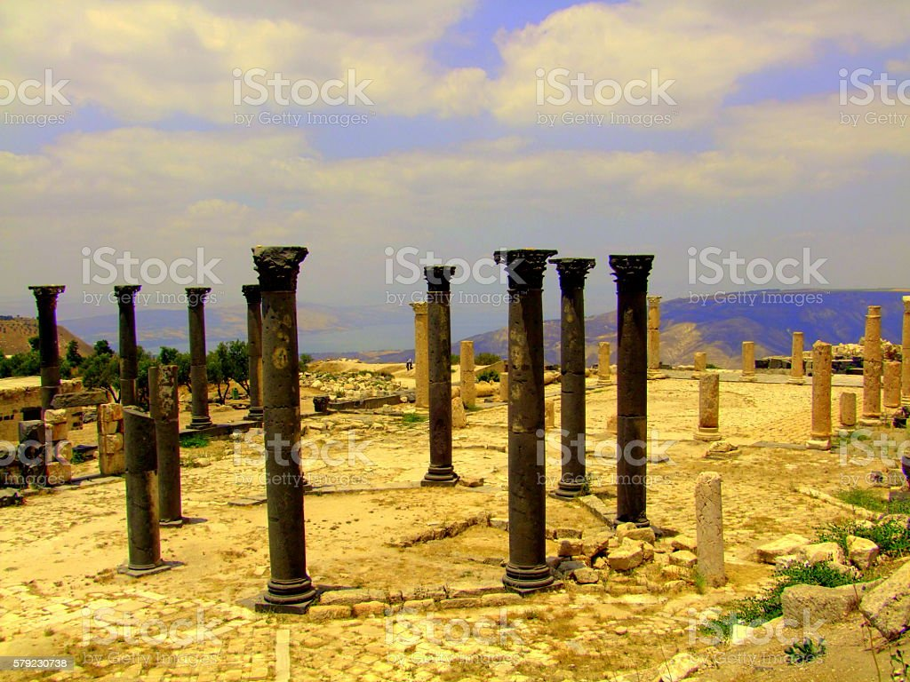 Basilica Ruins, Jordan, Sea of Galilee stock photo