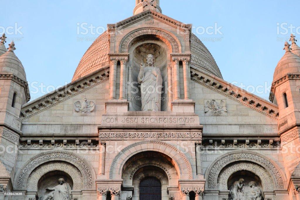 Basilica Sacré-Cœur de Montmartre, Sacre Coeur (Basilica of the Sacred Heart) - roman catholic church and minor basilica on Montmartre hill in the sunny summer day. Paris, France stock photo