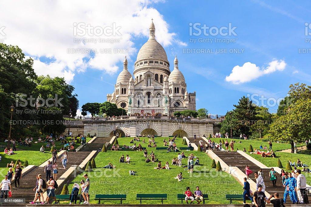 Basilica Sacre Coeur on Montmartre hill, Paris, France stock photo