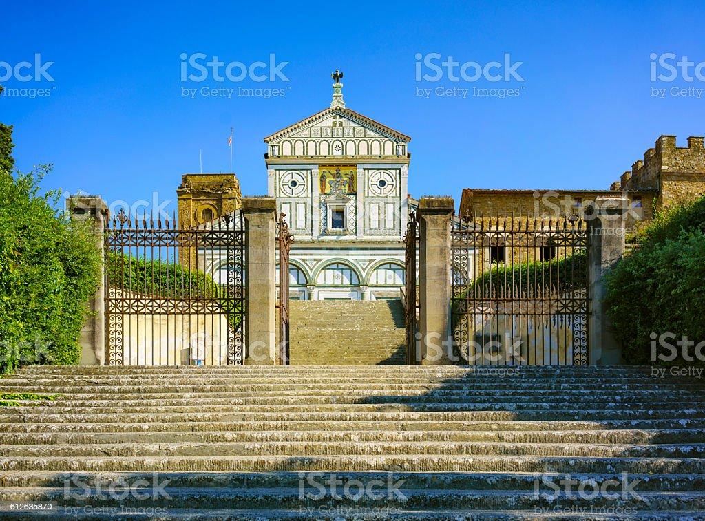 Basilica San Miniato al Monte  Florence or Firenze, church in stock photo
