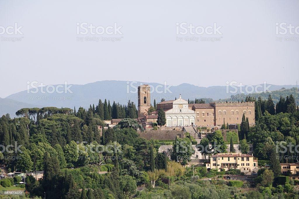 Basilica San Miniato al Monte view from Palazzo Vecchio, Florence stock photo