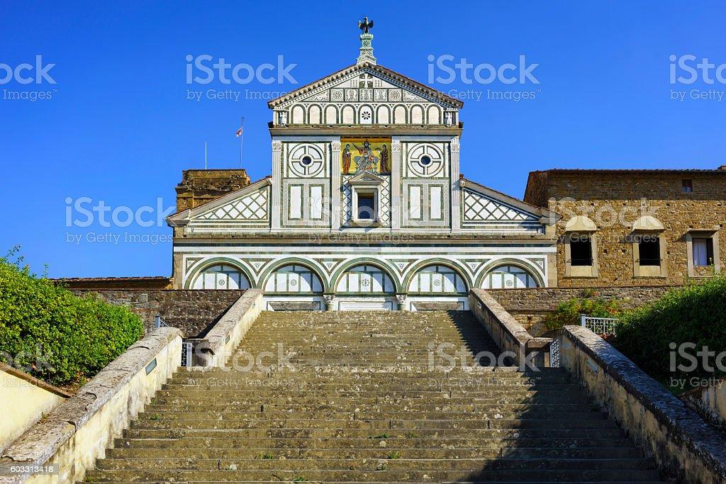 Basilica San Miniato Monte in Florence or Firenze, church in stock photo