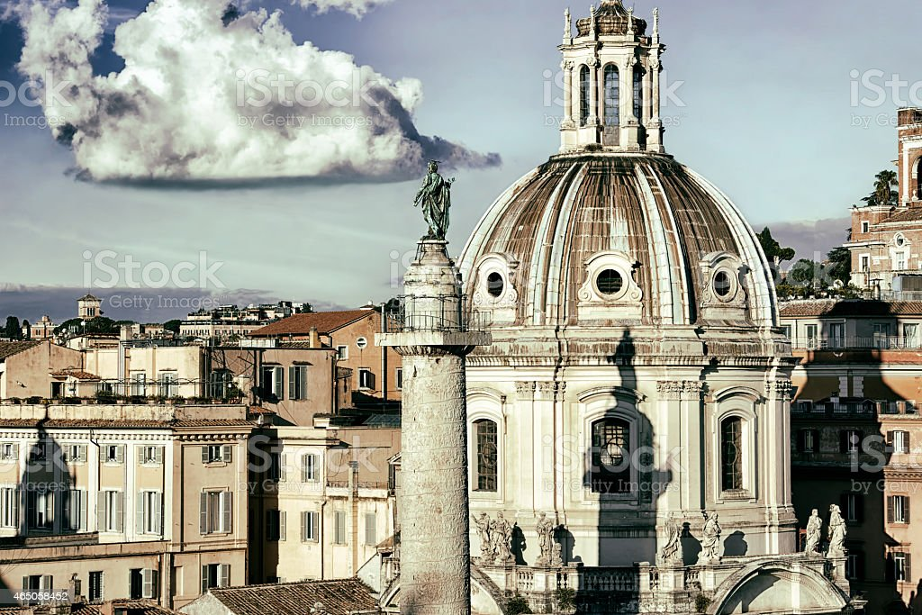 Basilica Ulpia Trajan's Column in Rome Vintage Effect stock photo