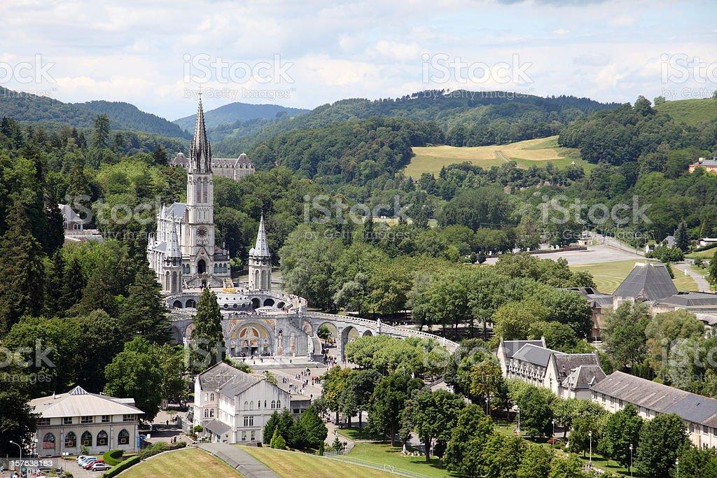 Basilique du Rosaire and Supérieure in Lourdes, France stock photo