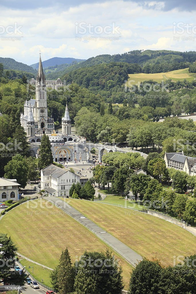 Basilique du Rosaire in Lourdes, France stock photo