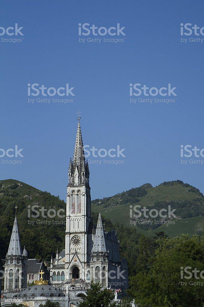Basilique Notre-Dame du Rosaire, Lourdes, France. stock photo