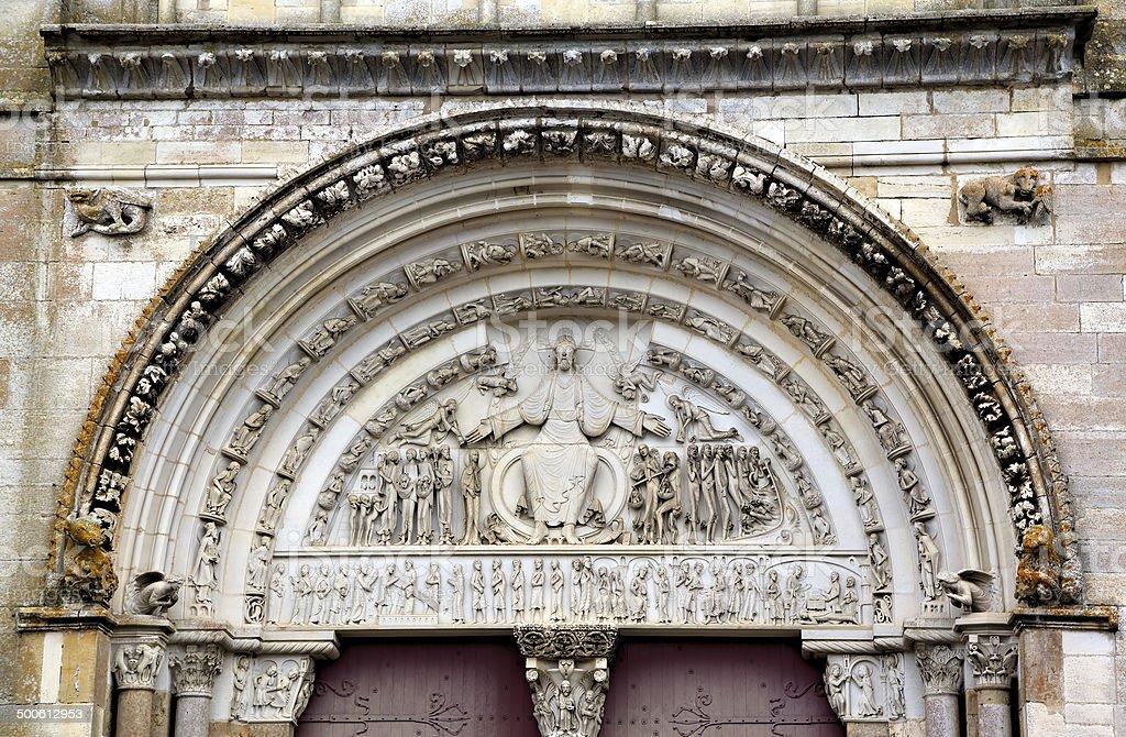 Basilique  of St. Mary Magdalene in Vezelay Abbey. Burgundy, France royalty-free stock photo