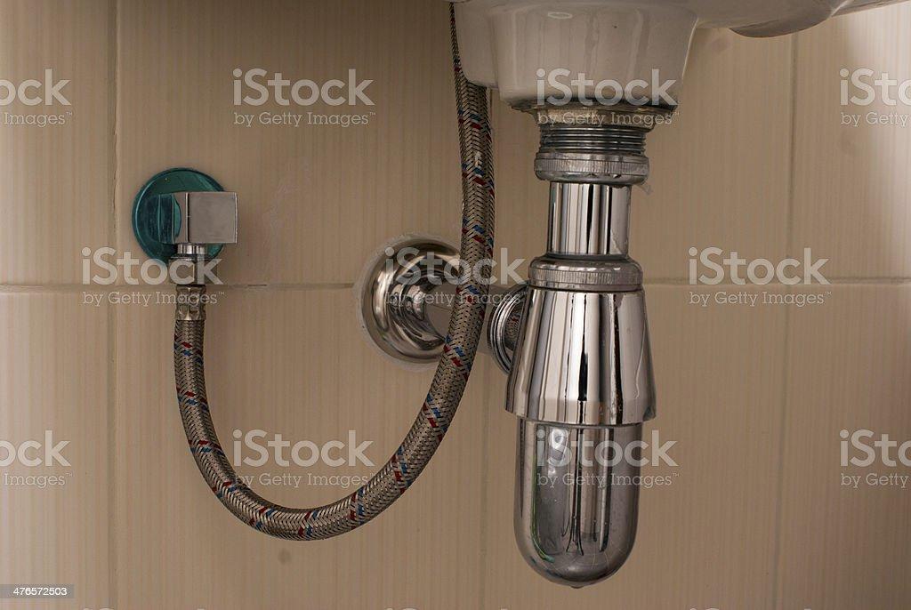basin drainer in the bathroom stock photo