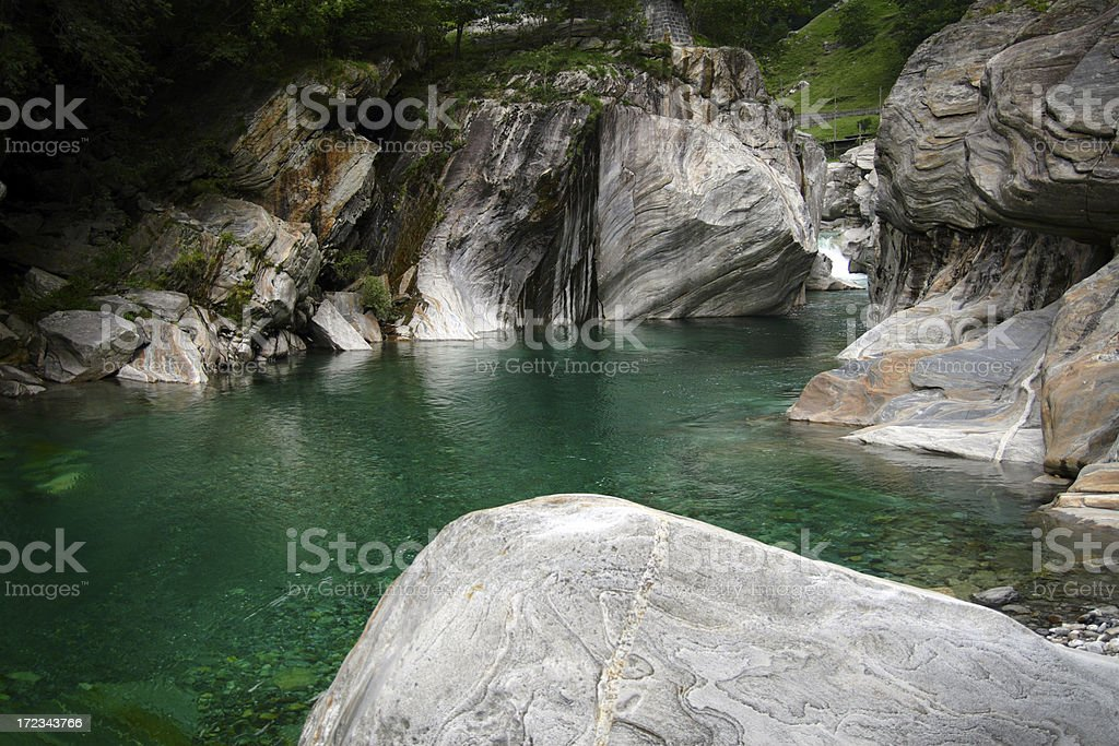 Basin of Verzasca River royalty-free stock photo