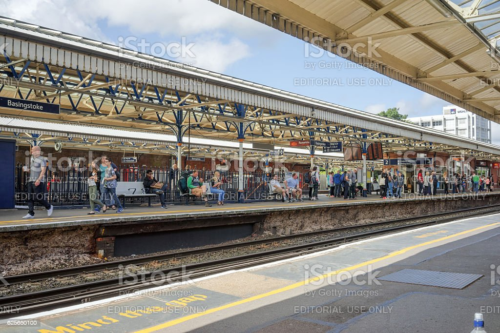 Basingstoke Railway Station central platforms stock photo