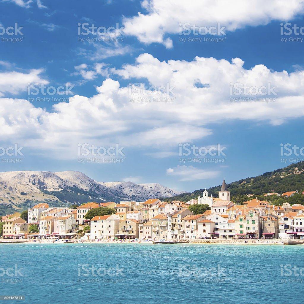 Baska, Krk, Croatia, Europe. stock photo
