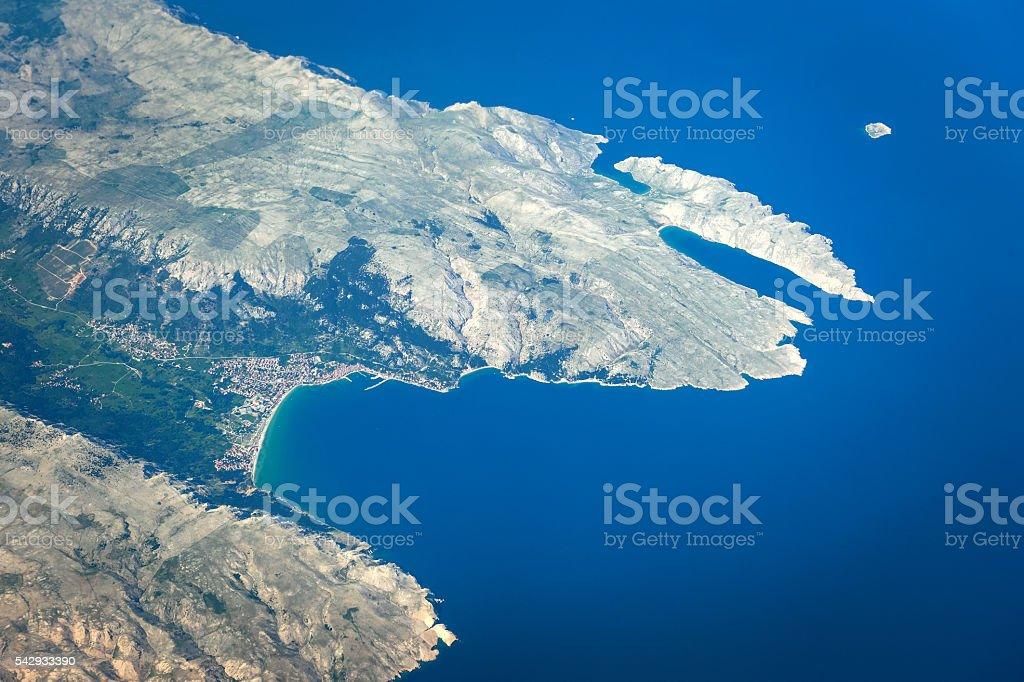 Baska on the Island of Krk,aerial view, Croatia stock photo