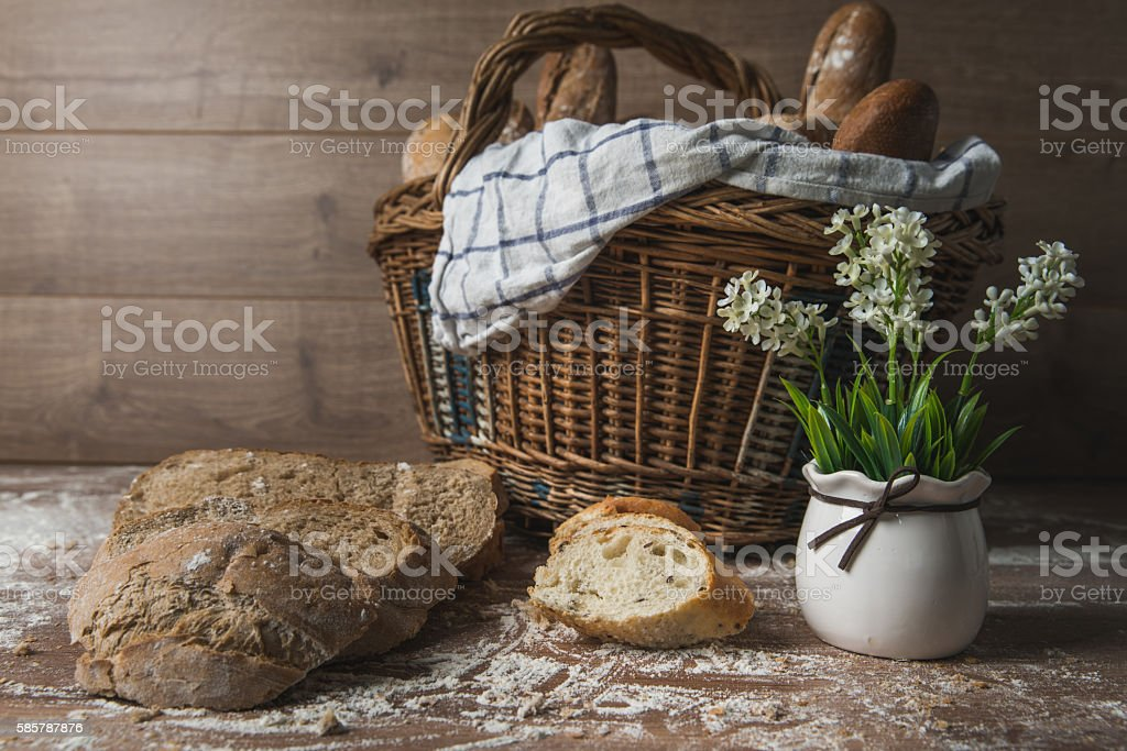 Basket and the bread stock photo