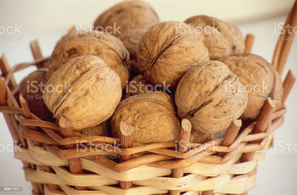 Basket and walnuts royalty-free stock photo