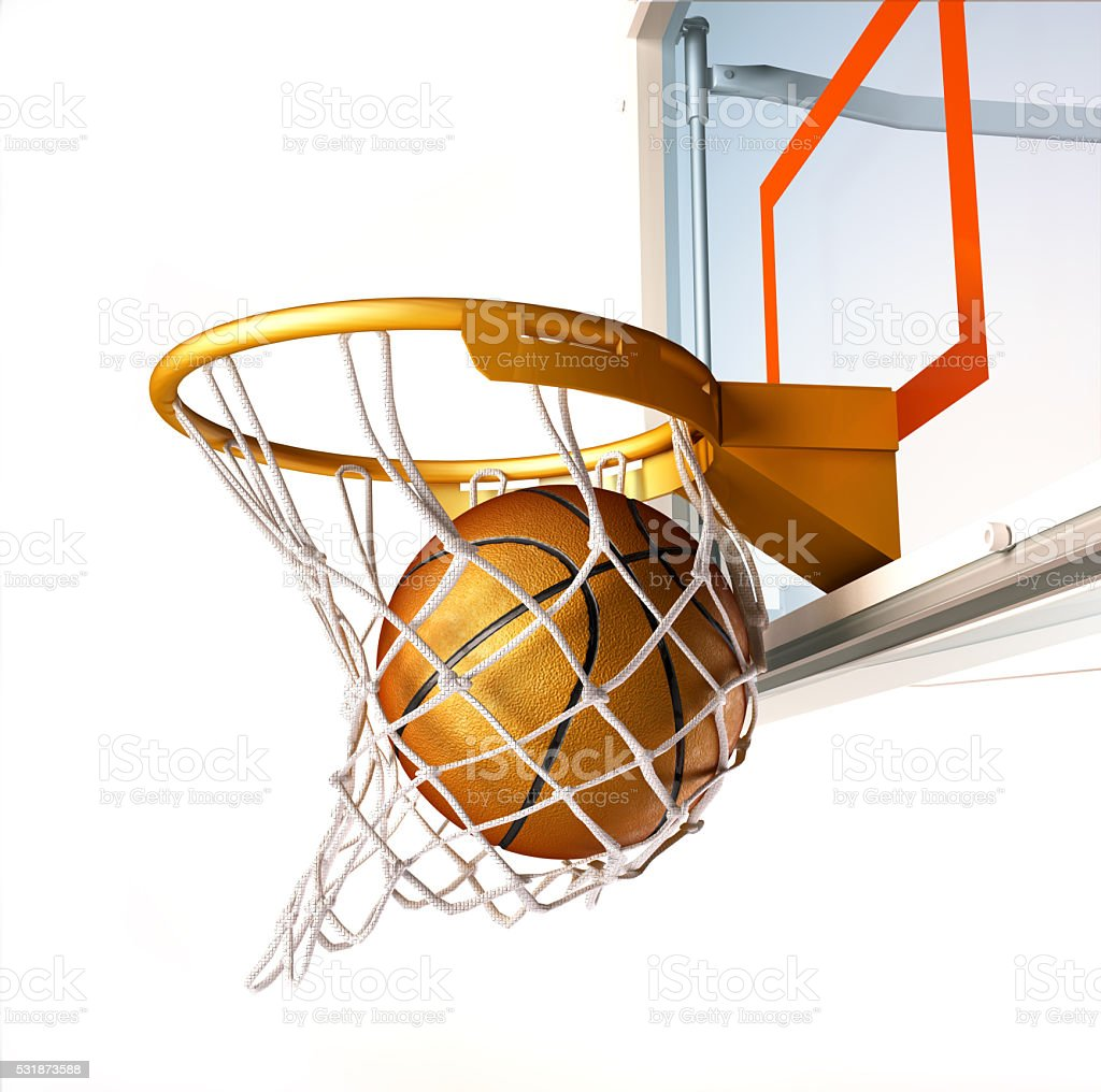 Basket ball centering the target, close up view. stock photo