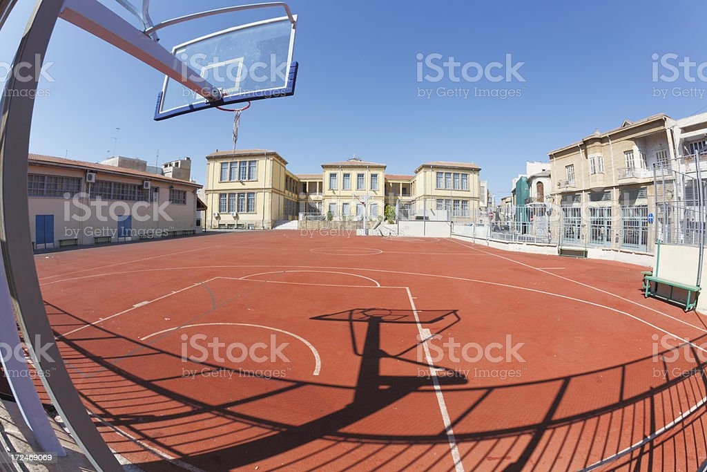 basket ball hoop and court in Nicosia Cyprus royalty-free stock photo