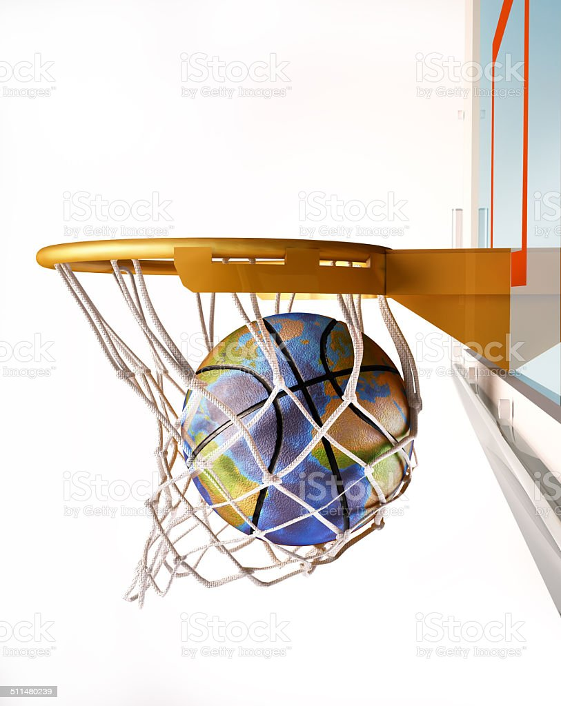 Basket ball with earth globe texture, centering the basket. stock photo