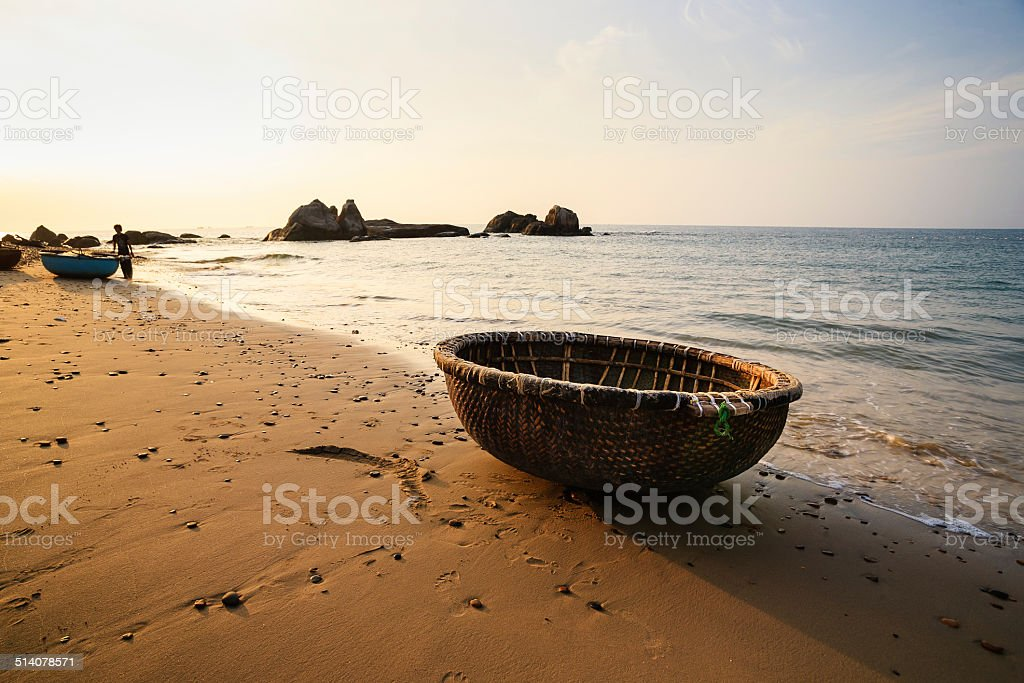 Basket boat at Co Thach beach in early morning, Vietnam stock photo