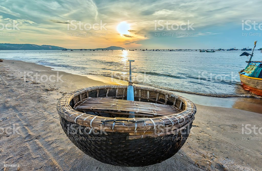 Basket boat before dawn stock photo