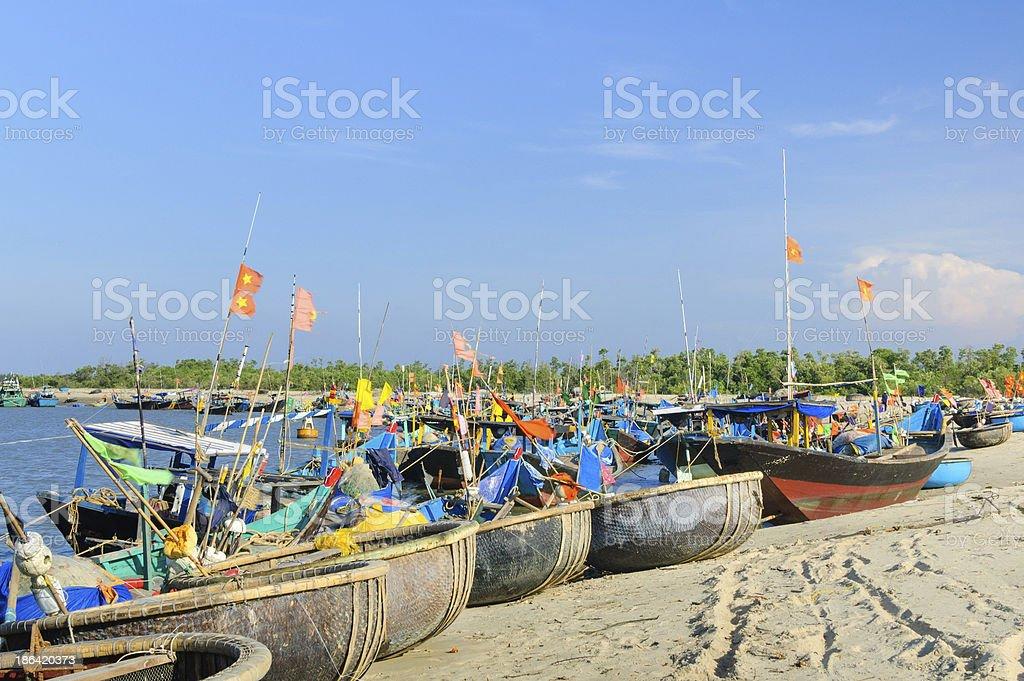 Basket boats on the sandy beach near Vung Tau City royalty-free stock photo