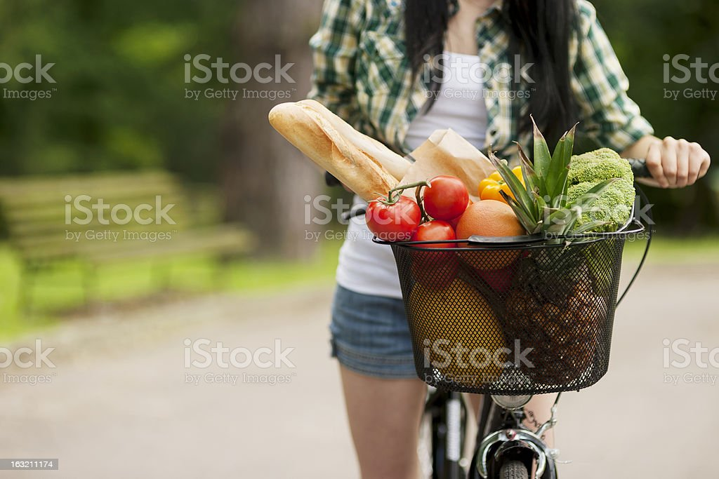 Basket filled fruits and vegetables stock photo