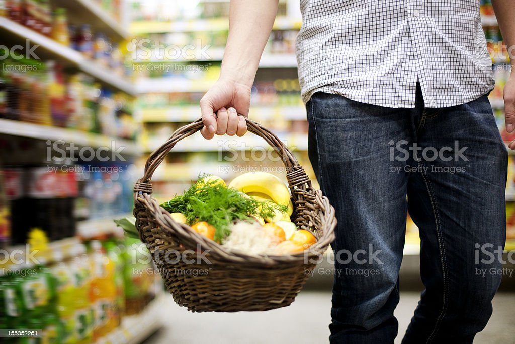 Basket filled healthy food stock photo