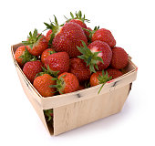 Basket filled with fresh strawberries