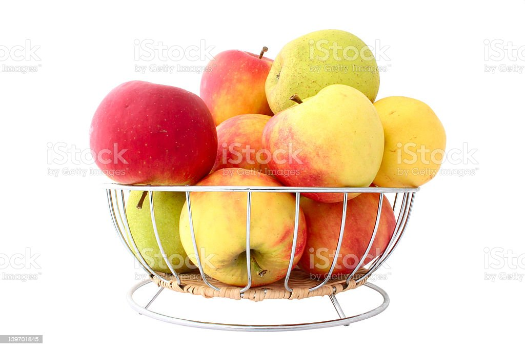 basket full of apples - pure white background royalty-free stock photo