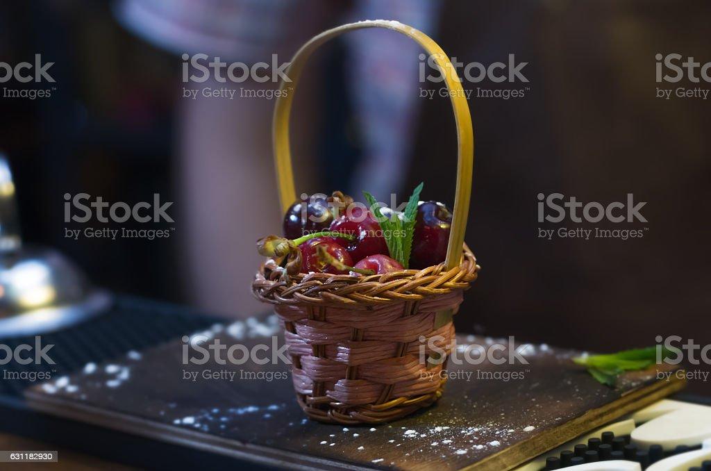 Basket full of cherries stock photo