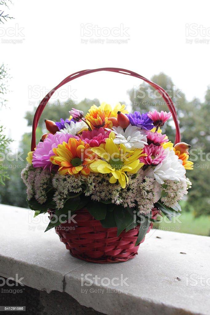 Basket full of flowers stock photo