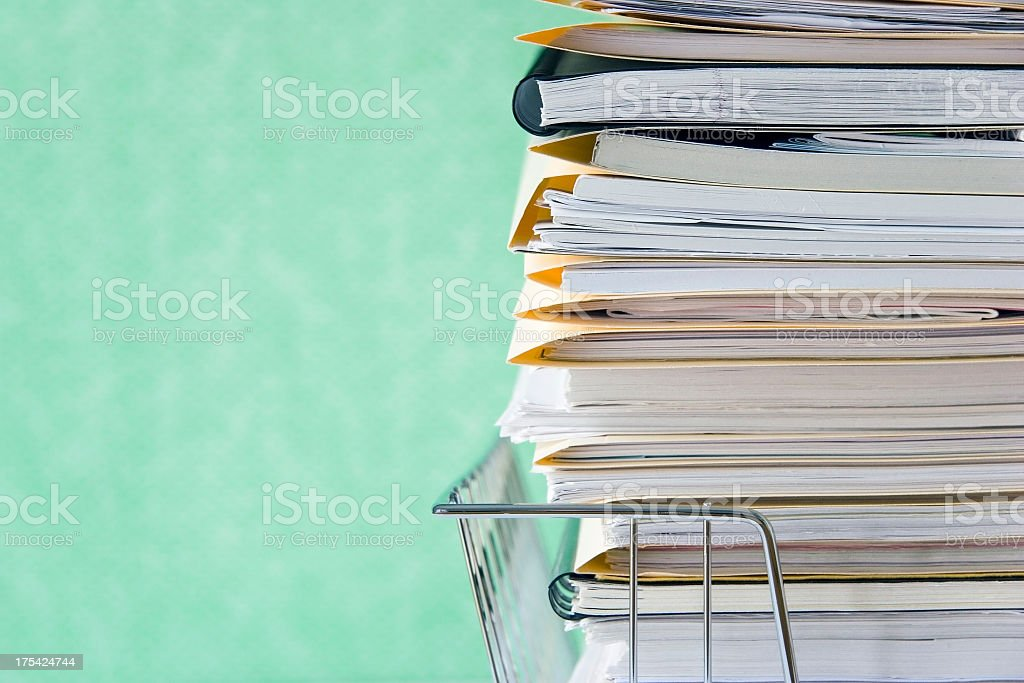 A basket full of folders and notebooks stock photo