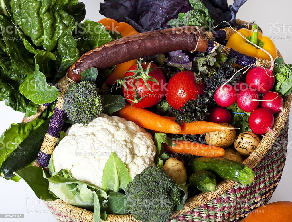 basket full of fresh organic vegetables royalty-free stock photo