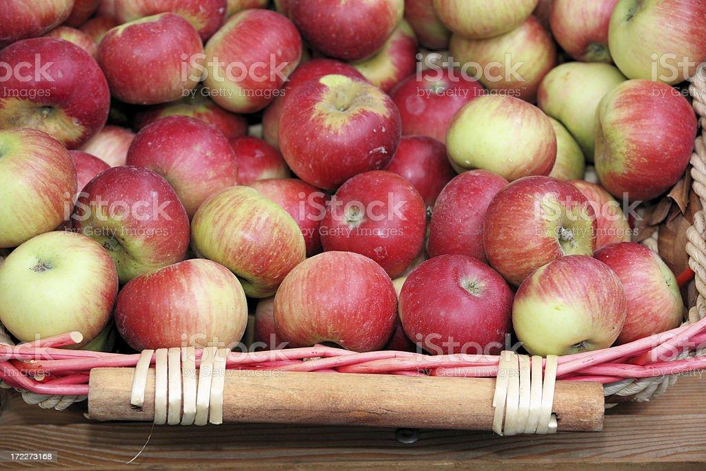 Basket full of gala apples stock photo