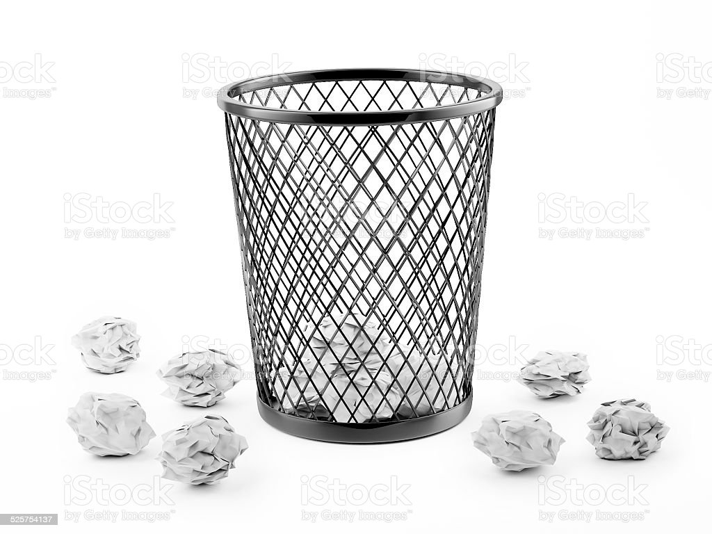 Basket Full of Waste Paper Isolated on White Background stock photo