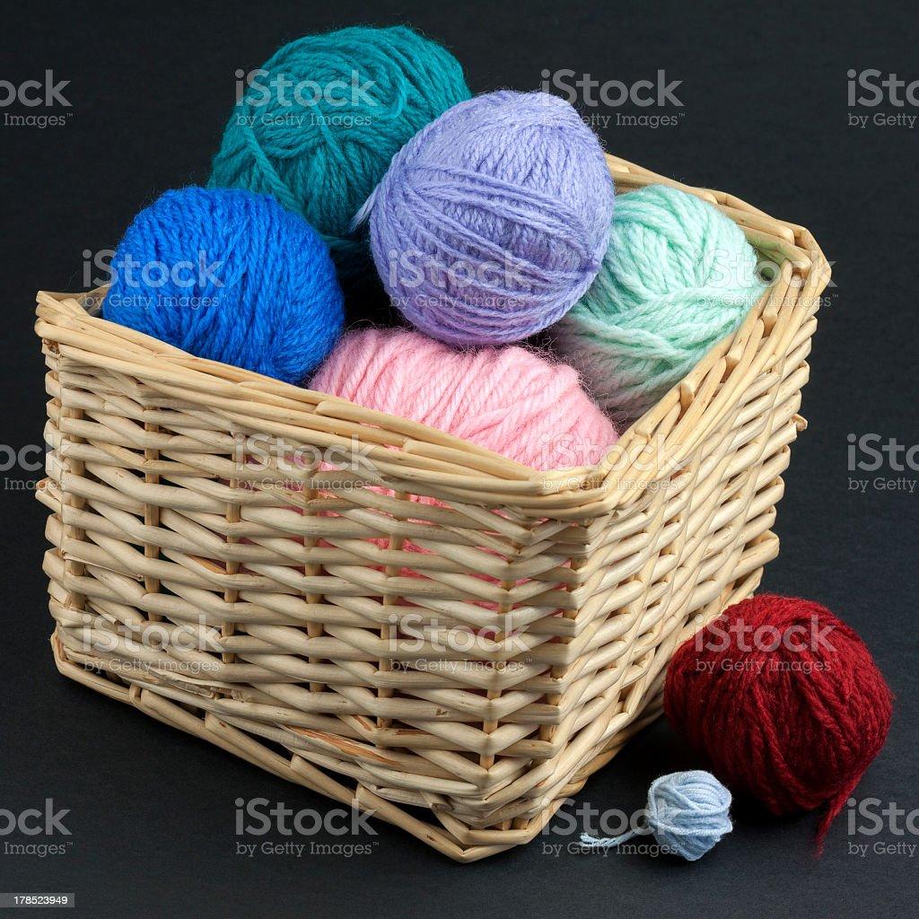 Basket full of yarn royalty-free stock photo