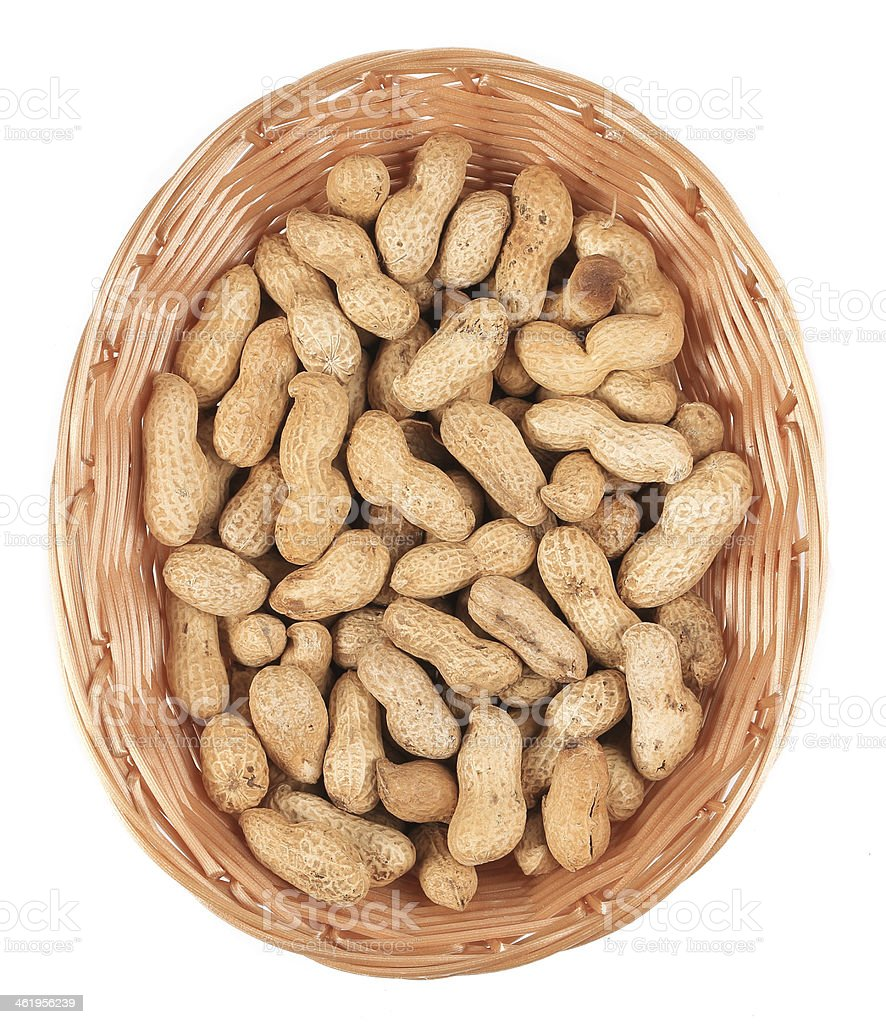 Basket full with peanuts. royalty-free stock photo