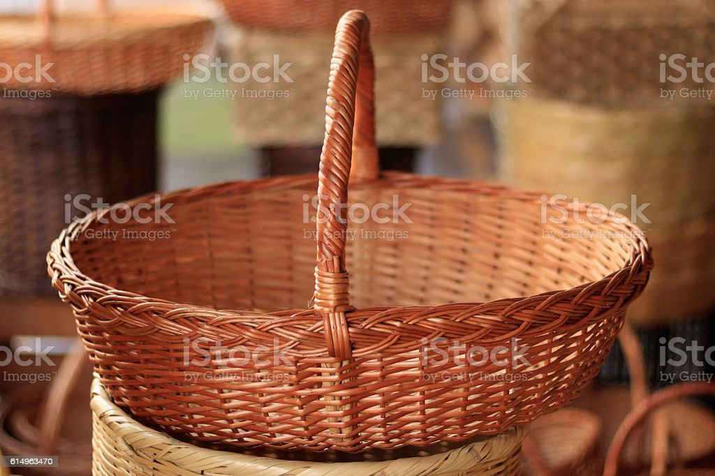 Basket in street market stock photo