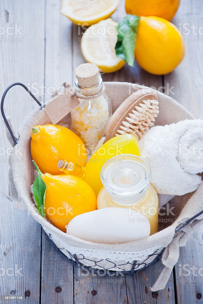 Basket Lemon Spa stock photo